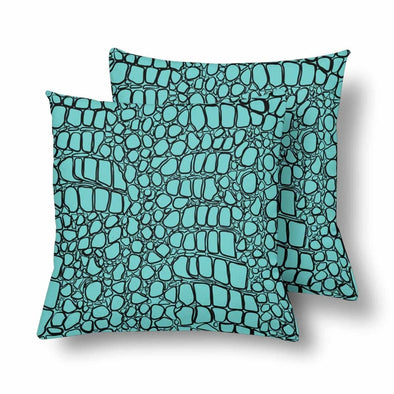 18 x 18 Throw Pillows (2) - Custom Crocodile Pattern - Turquoise Crocodile - Housewares crocodiles housewares pillows