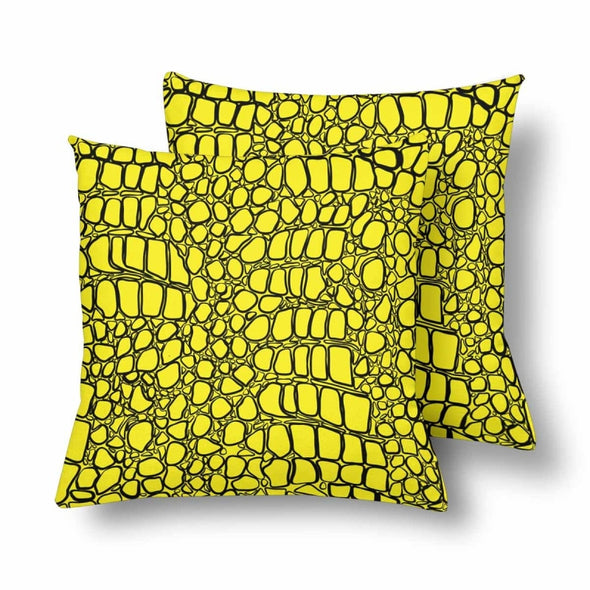 18 x 18 Throw Pillows (2) - Custom Crocodile Pattern - Yellow Crocodile - Housewares crocodiles housewares pillows