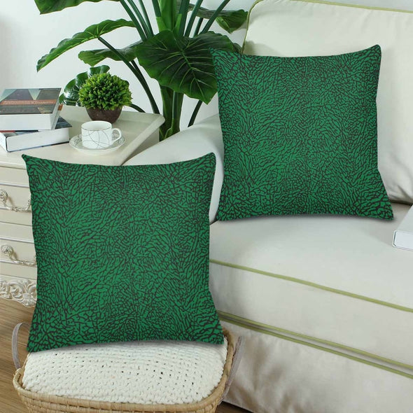 18 x 18 Throw Pillows (2) - Custom Elephant Pattern - Green Elephant - Housewares elephants housewares pillows
