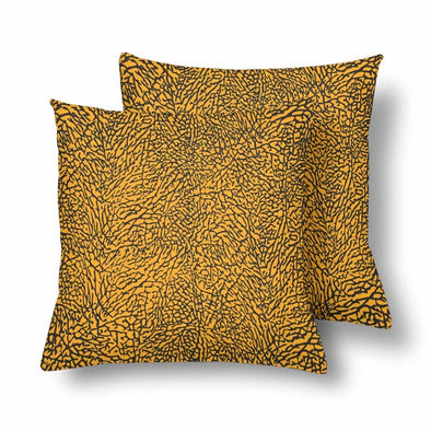 18 x 18 Throw Pillows (2) - Custom Elephant Pattern - Orange Elephant - Housewares elephants housewares pillows