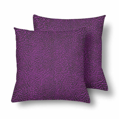 18 x 18 Throw Pillows (2) - Custom Elephant Pattern - Purple Elephant - Housewares elephants housewares pillows