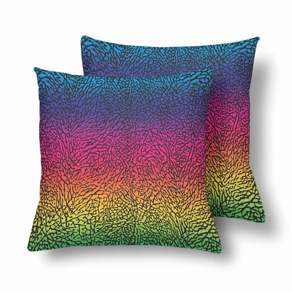 18 x 18 Throw Pillows (2) - Custom Elephant Pattern - Rainbow Elephant - Housewares elephants housewares pillows