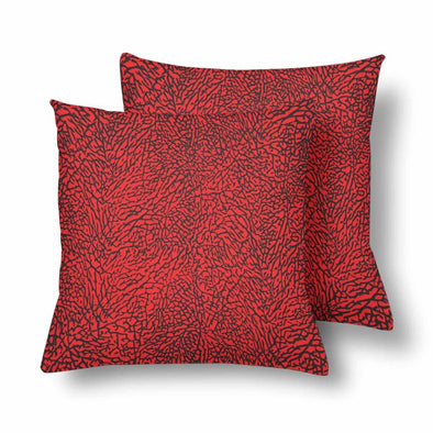 18 x 18 Throw Pillows (2) - Custom Elephant Pattern - Red Elephant - Housewares elephants housewares pillows