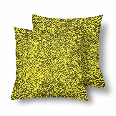 18 x 18 Throw Pillows (2) - Custom Elephant Pattern - Yellow Elephant - Housewares elephants housewares pillows