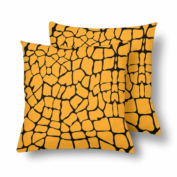 18 x 18 Throw Pillows (2) - Custom Giraffe Pattern - Orange Giraffe - Housewares giraffes hot new items housewares pillows