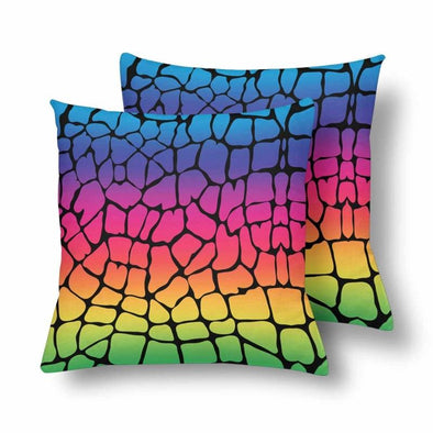 18 x 18 Throw Pillows (2) - Custom Giraffe Pattern - Rainbow Giraffe - Housewares giraffes hot new items housewares pillows