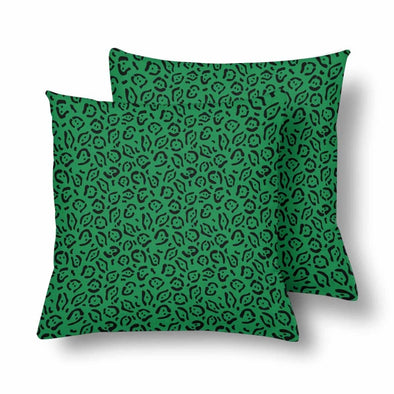 18 x 18 Throw Pillows (2) - Custom Jaguar Pattern - Green Jaguar - Housewares big cats housewares jaguars pillows