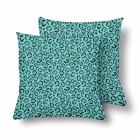 18 x 18 Throw Pillows (2) - Custom Jaguar Pattern - Turquoise Jaguar - Housewares big cats housewares jaguars pillows