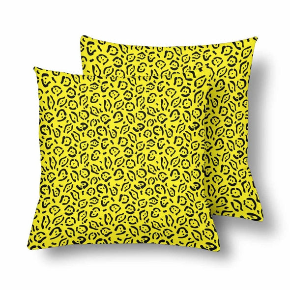 18 x 18 Throw Pillows (2) - Custom Jaguar Pattern - Yellow Jaguar - Housewares big cats housewares jaguars pillows
