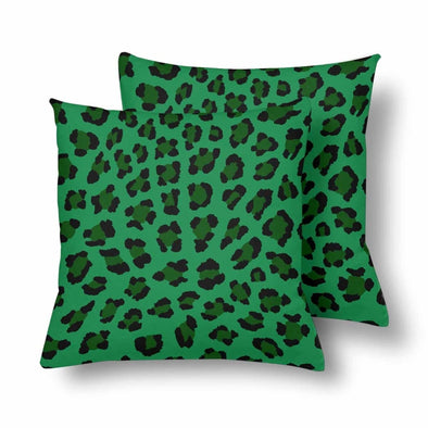 18 x 18 Throw Pillows (2) - Custom Leopard Pattern - Green Leopard - Housewares big cats housewares leopards pillows