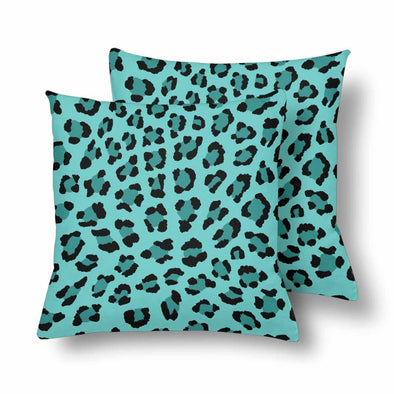 18 x 18 Throw Pillows (2) - Custom Leopard Pattern - Turquoise Leopard - Housewares big cats housewares leopards pillows