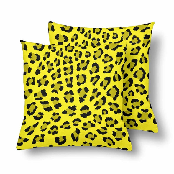 18 x 18 Throw Pillows (2) - Custom Leopard Pattern - Yellow Leopard - Housewares big cats housewares leopards pillows