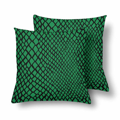 18 x 18 Throw Pillows (2) - Custom Snake Pattern - Green Snake - Housewares housewares pillows snakes