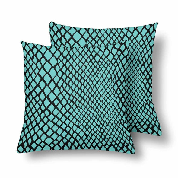 18 x 18 Throw Pillows (2) - Custom Snake Pattern - Turquoise Snake - Housewares housewares pillows snakes