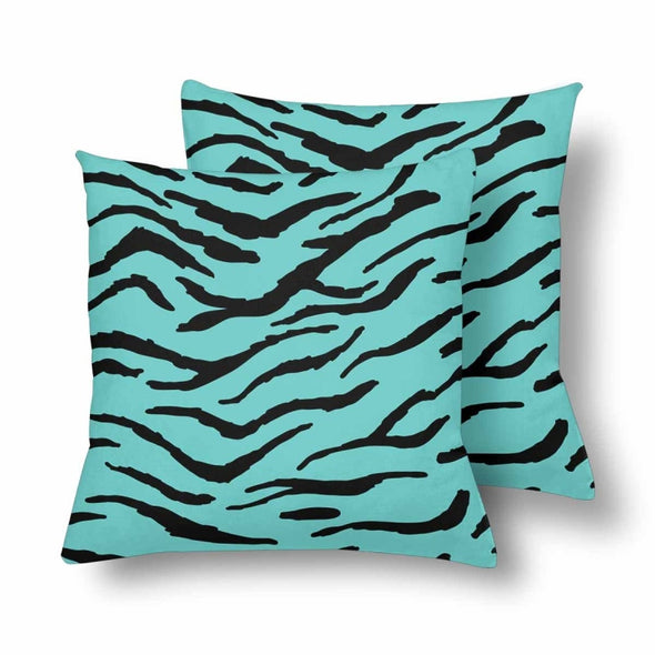 18 x 18 Throw Pillows (2) - Custom Tiger Pattern - Turquoise Tiger - Housewares big cats housewares pillows tigers