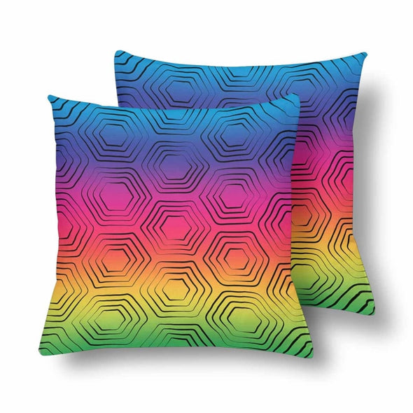 18 x 18 Throw Pillows (2) - Custom Turtle Pattern - Rainbow Turtle - Housewares housewares pillows turtles