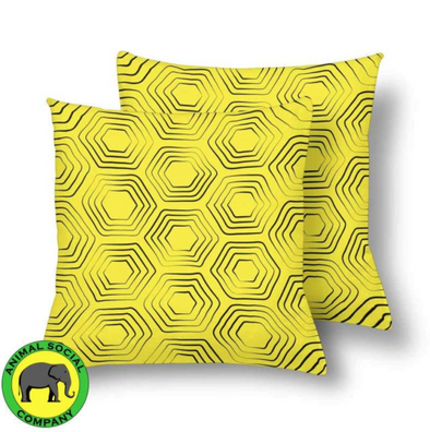18 x 18 Throw Pillows (2) - Custom Turtle Pattern - Yellow Turtle - Housewares housewares pillows turtles