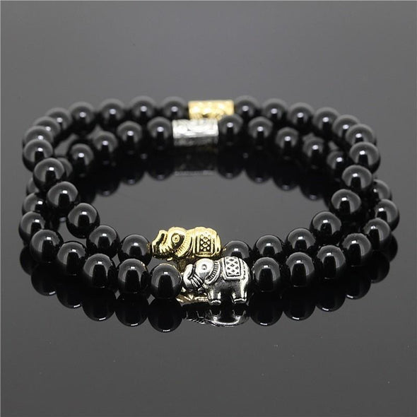 2 Piece Bead Onyx Natural Stone Elephant Bracelet - Black - Jewelry Bracelets Elephants Yoga Gear