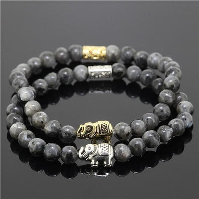 2 Piece Bead Onyx Natural Stone Elephant Bracelet - Dark Grey - Jewelry Bracelets Elephants Yoga Gear