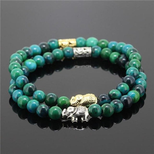 2 Piece Bead Onyx Natural Stone Elephant Bracelet - Green - Jewelry Bracelets Elephants Yoga Gear