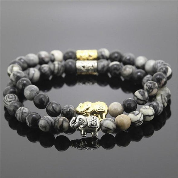2 Piece Bead Onyx Natural Stone Elephant Bracelet - Grey - Jewelry Bracelets Elephants Yoga Gear
