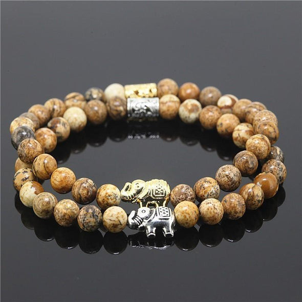 2 Piece Bead Onyx Natural Stone Elephant Bracelet - Tan - Jewelry Bracelets Elephants Yoga Gear