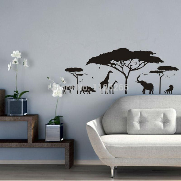 African Safari Animal Wall Sticker - Wall Art big cats elephants giraffes horses rhinos