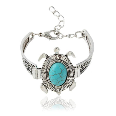 Antique Silver Turquoise Turtle Stone Adjustable Bracelet Bangle - Jewelry Bracelets Indian Turquoise Turtles