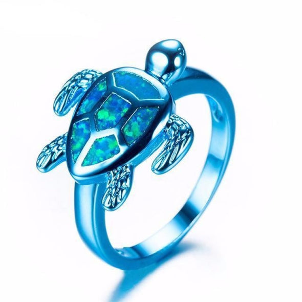 Blue Fire Opal & Blue/Green/Pink Chrome Turtle Ring - Blue / 10 - Jewelry opal rings turtles