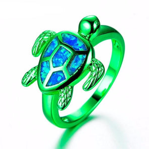 Blue Fire Opal & Blue/Green/Pink Chrome Turtle Ring - Green / 10 - Jewelry opal rings turtles