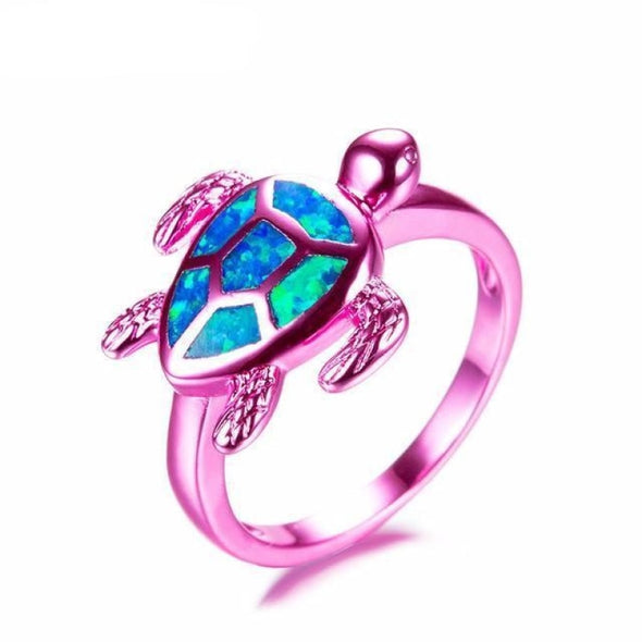 Blue Fire Opal & Blue/Green/Pink Chrome Turtle Ring - Pink / 10 - Jewelry opal rings turtles