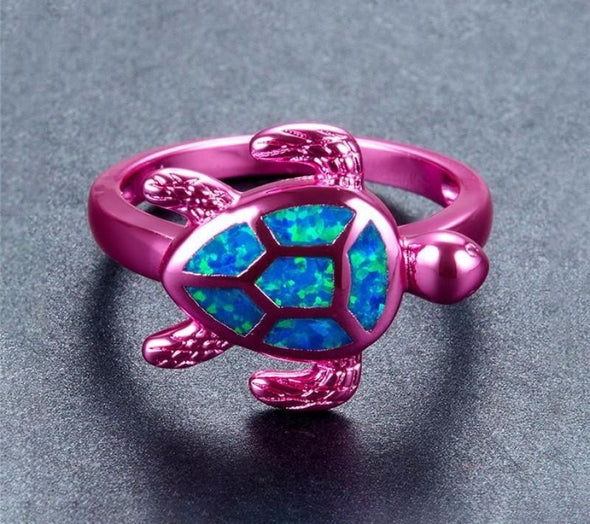 Blue Fire Opal & Blue/Green/Pink Chrome Turtle Ring - Jewelry opal rings turtles