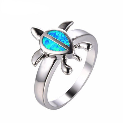 Blue Fire Opal Sterling Silver Turtle Ring - 6 - Jewelry opal rings turtles
