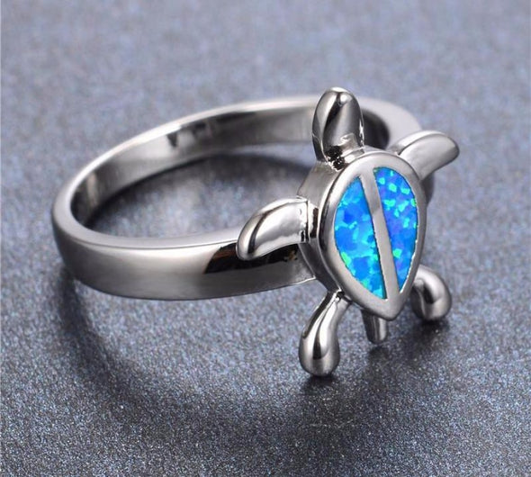 Blue Fire Opal Sterling Silver Turtle Ring - Jewelry opal rings turtles