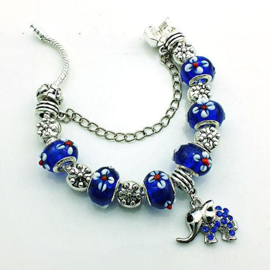 Blue Murano Glass Beads & Elephant Charm Bracelet - 7in / 18cm - Jewelry bracelets elephants italian