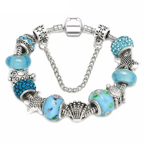 Blue Murano Glass Beads & Star Shell w/Sea Turtle Charm Bracelet - 7in / 18cm - Jewelry bracelets italian turtles