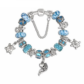 Blue Murano Glass Beads & Starfish w/Turtle Charm Bracelet - 7in / 18cm - Jewelry bracelets italian turtles