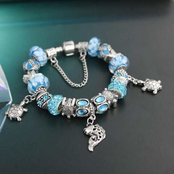 Blue Murano Glass Beads & Starfish w/Turtle Charm Bracelet - Jewelry bracelets italian turtles