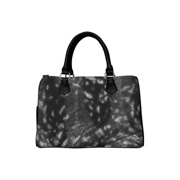 Boston Handbag Purse - Custom Animal Fur Prints - Gray Black - Accessories big cats hot new items