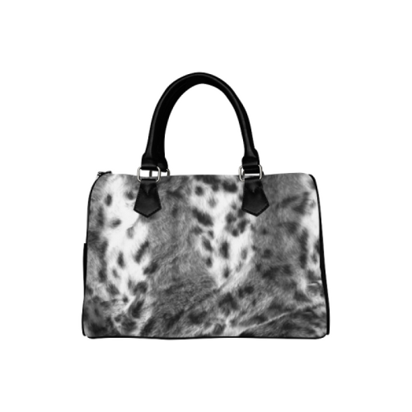 Boston Handbag Purse - Custom Animal Fur Prints - Gray White - Accessories big cats hot new items