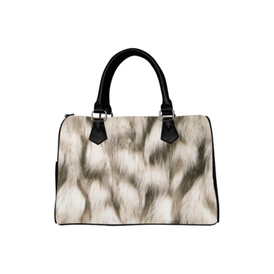 Boston Handbag Purse - Custom Animal Fur Prints - White Brown - Accessories big cats hot new items