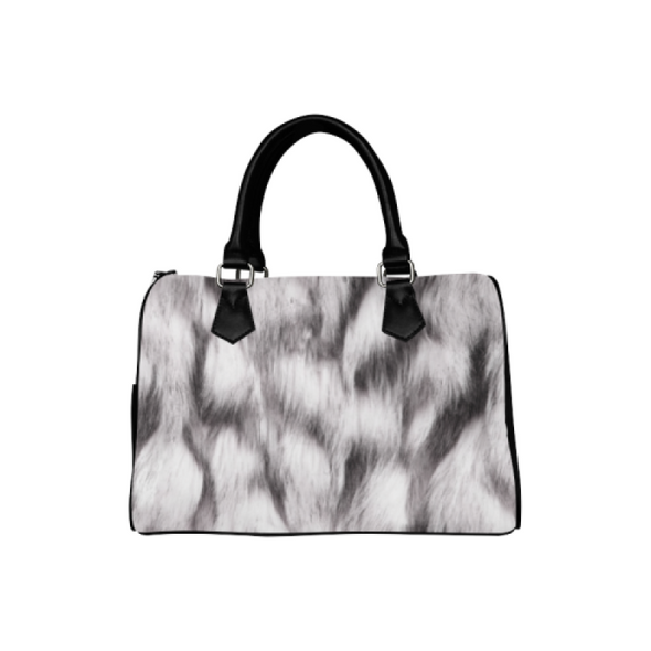 Boston Handbag Purse - Custom Animal Fur Prints - White Gray - Accessories big cats hot new items