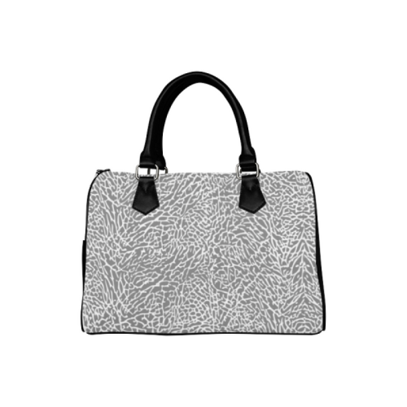 Boston Handbag Purse - Custom White Elephant Pattern - Gray Elephant - Accessories elephants handbags hot new items