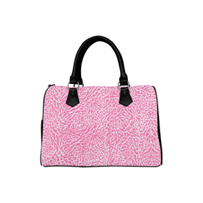 Boston Handbag Purse - Custom White Elephant Pattern - Hot Pink Elephant - Accessories elephants handbags hot new items