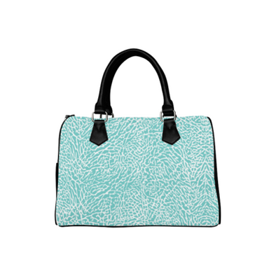 Boston Handbag Purse - Custom White Elephant Pattern - Turquoise Elephant - Accessories elephants handbags hot new items