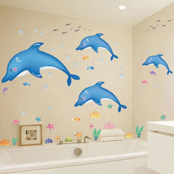 Cartoon Dolphins Wall Sticker - Wall Art dolphins wall stickers