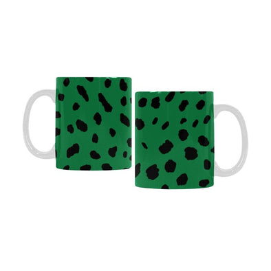 Ceramic Coffee Mugs (Pair) - Custom Cheetah Pattern - Green - Housewares big cats cheetahs housewares