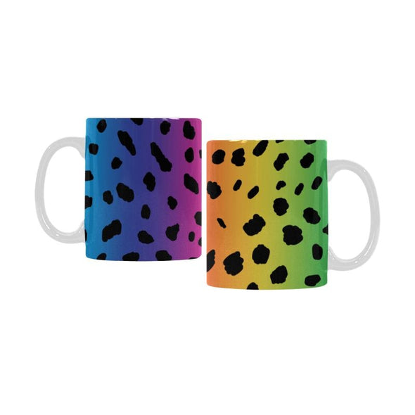 Ceramic Coffee Mugs (Pair) - Custom Cheetah Pattern - Rainbow 2 - Housewares big cats cheetahs housewares