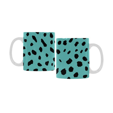 Ceramic Coffee Mugs (Pair) - Custom Cheetah Pattern - Turquoise - Housewares big cats cheetahs housewares