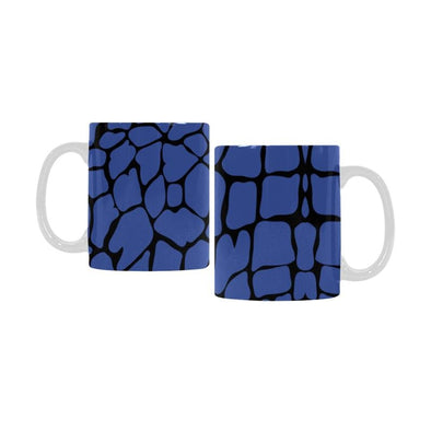Ceramic Coffee Mugs (Pair) - Custom Giraffe Pattern - Blue - Housewares giraffes housewares